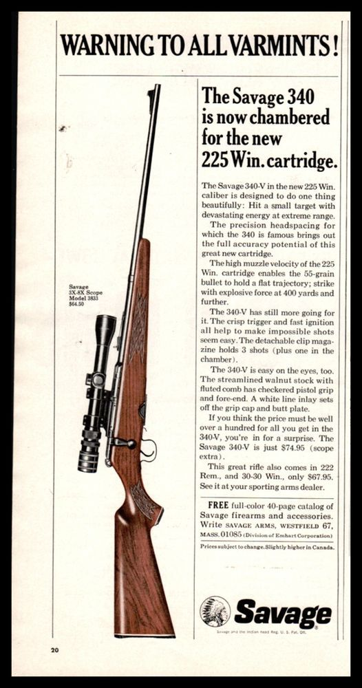 Details about 1965 SAVAGE 240 349-V 225 Win  Rifle AD | guns