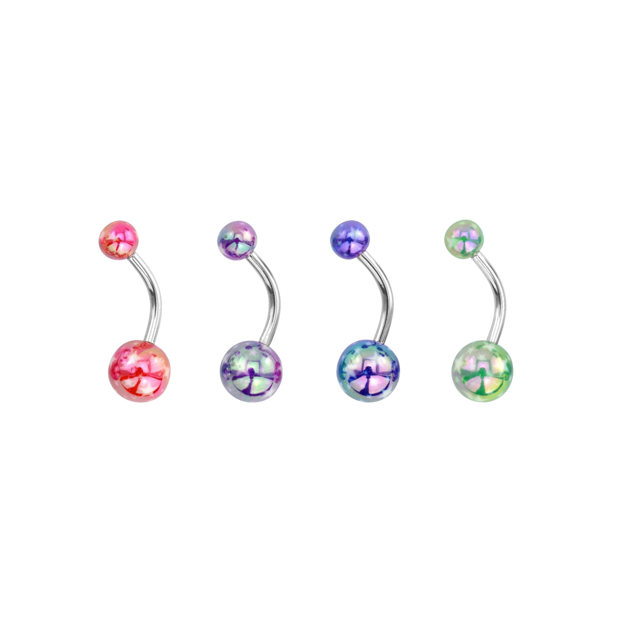 4 belly button piercing  Supreme Jewelry Iridescent Cheetah Printed Belly Ring Set of