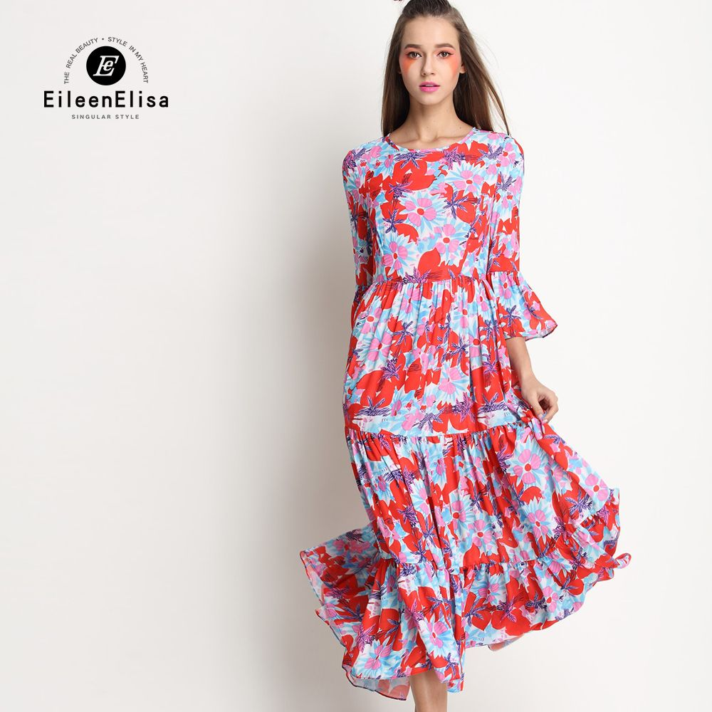 Click to buy ucuc floral maxi dress long sleeve silk printed maxi