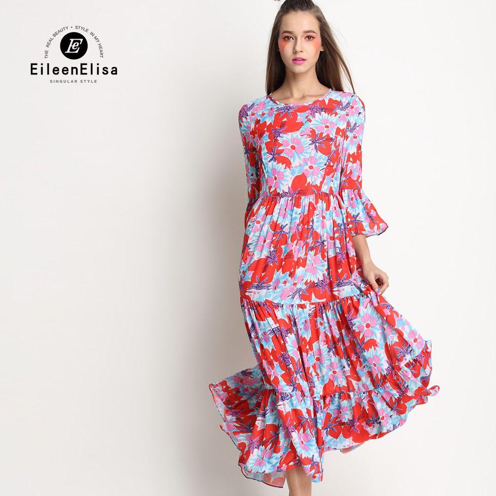 Click to buy ucuc floral maxi dress long sleeve silk printed maxi