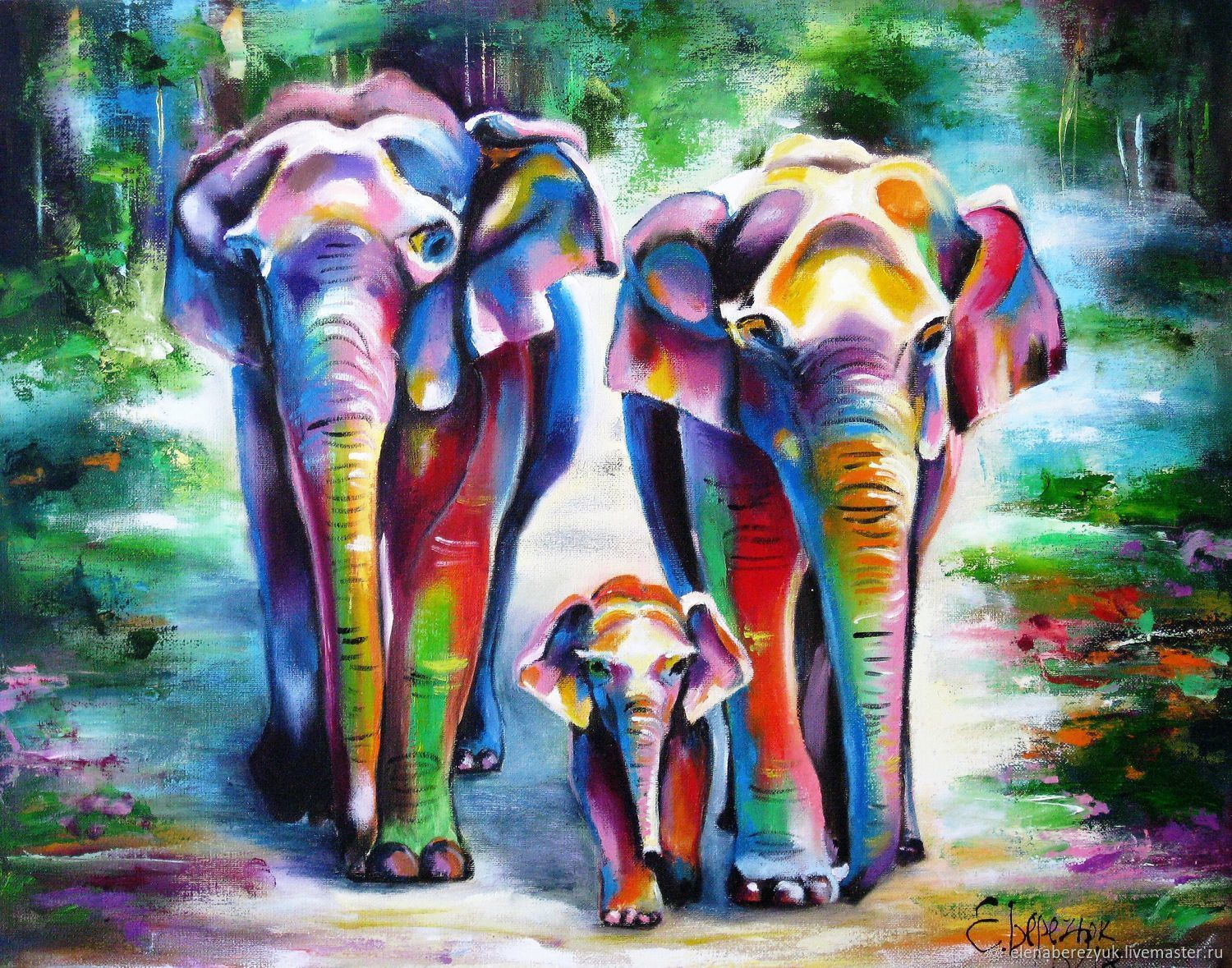 Elephans Landscape oil painting on canvas Tropical animal painting   shop online on Livemaster with shipping is part of Shop Online On Livemaster With Shipping Pinterest Com - Elephans Landscape oil painting on canvas Tropical animal painting  buy or order in an online shop on Livemaster   Elephans family  Landscape oil painting on…