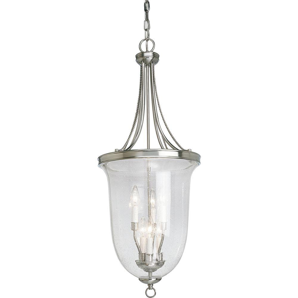 Progress Lighting Seeded Glass Collection 6 Light Brushed Nickel