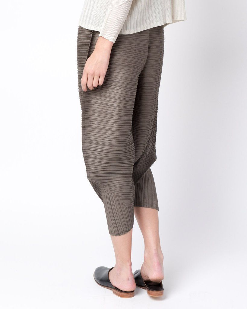 Collection · Thicker Bounce Pants in Brown by Issey Miyake Pleats Please ...