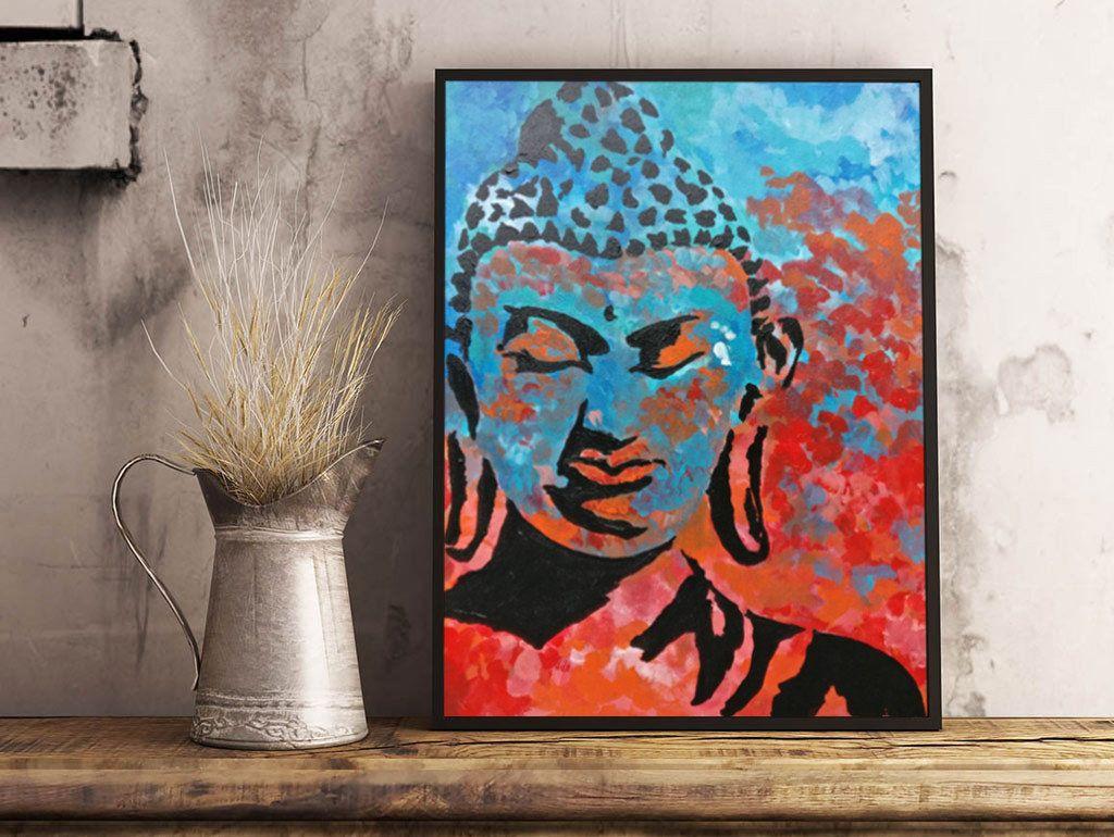 Buddha Painting Buddha Wall Art Boho Decor Buddha Face Zen Art