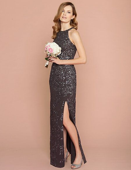 A beaded gown in gunmetal is worthy of a Bond girl. #lechateau ...