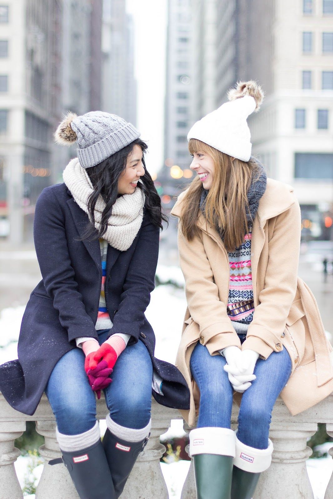 Winter Fashion Layers Wool Coats Hunter Boots Brights Fair Isle Sweater Striped Best Friends Quality Over Quany