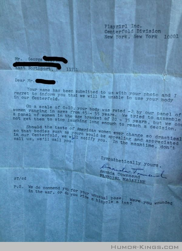 Hilarious Playgirl rejection letter from the 70u0027s One day - rejection letter