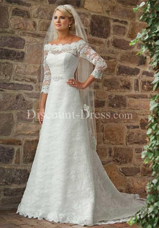 A-Line Bateau Sheer Lace Chiffon Chapel wedding Dress style 12825     discount dress