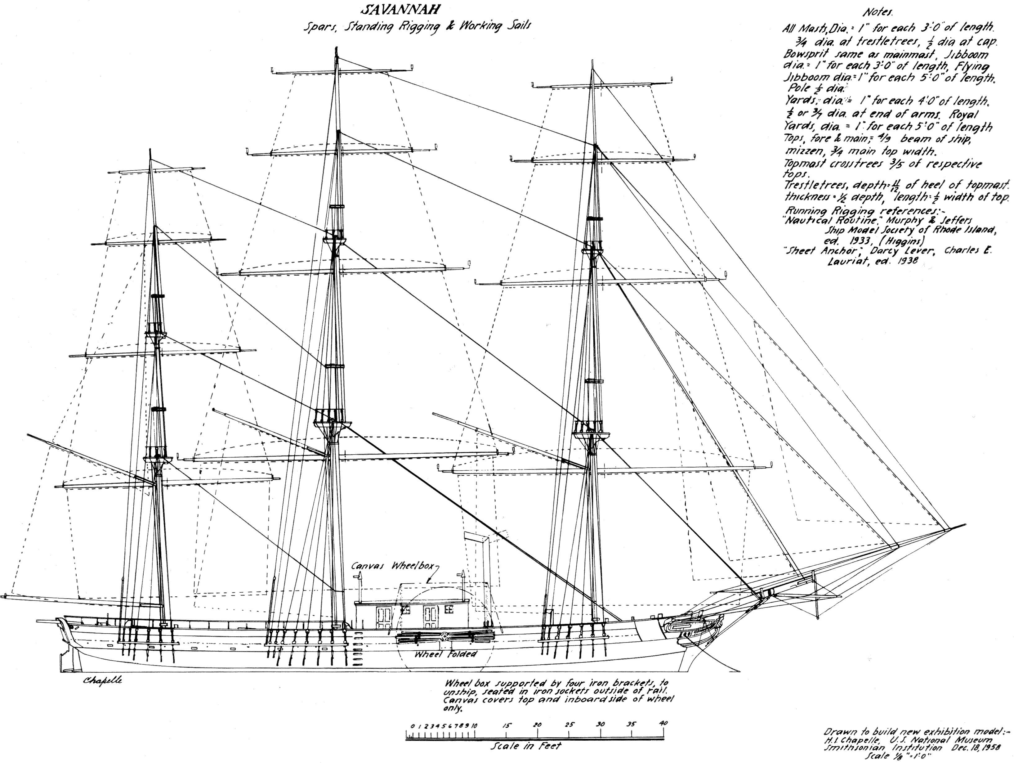 Old Sailing Ship Technical Drawings