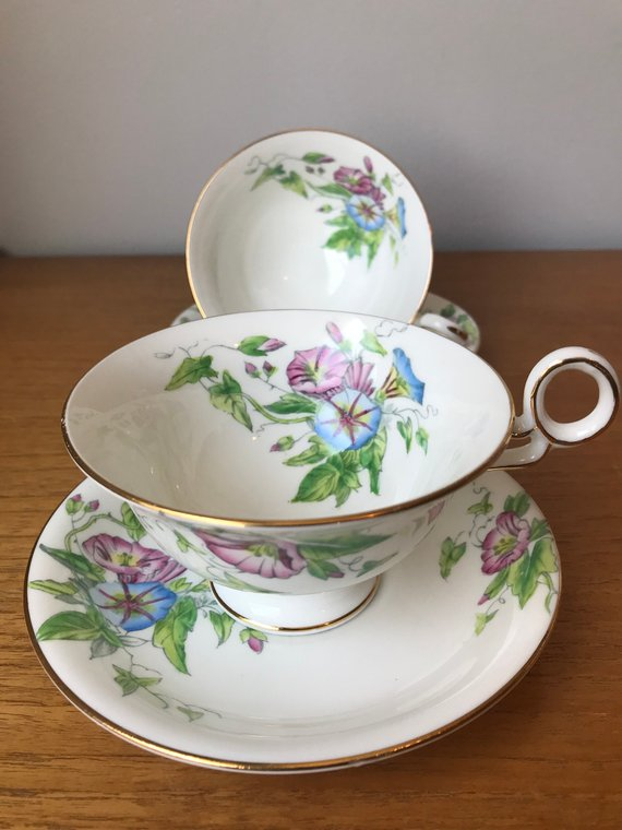Radfords Fenton Westbury Teacups And Saucers Blue And Pink Morning Glory Flower Tea Cups And Sau Tea Cups Tea Cups Vintage Flower Tea
