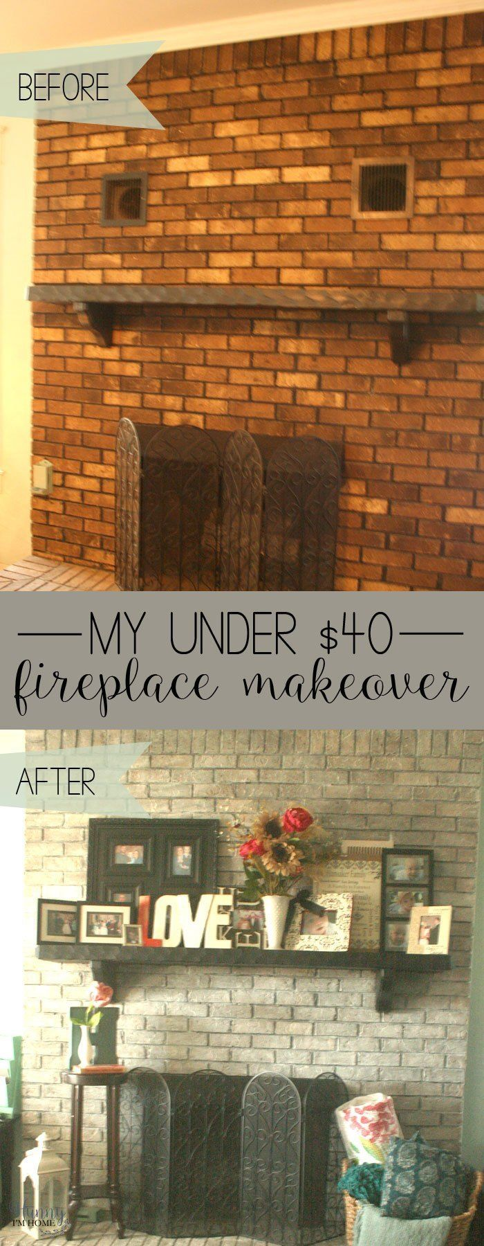 My DIY Farmhouse Fireplace Makeover (for under $40!)