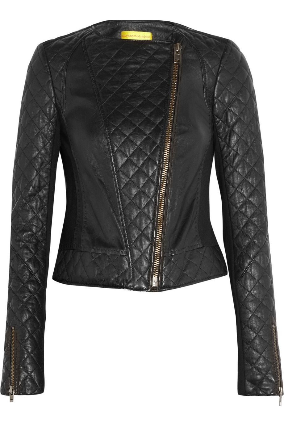 Quilted leather and stretch-ponte jacket-  3   My style - haves ... 746503d1640