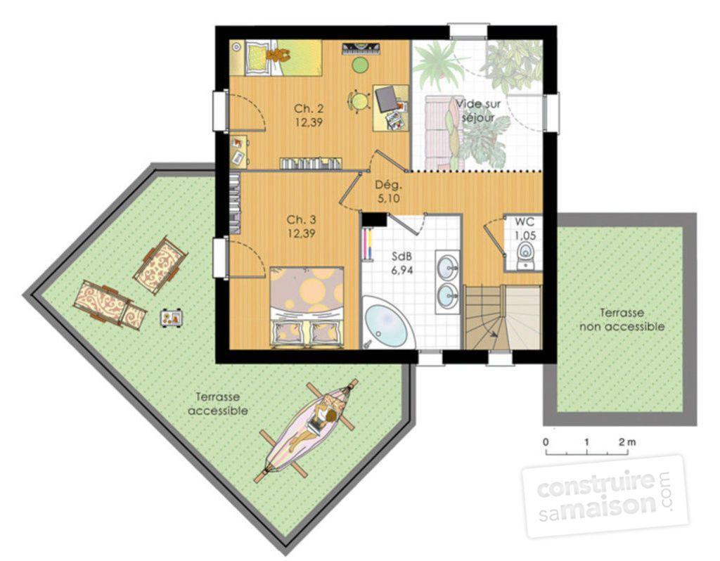 Demeure en bois plan habillé etage maison