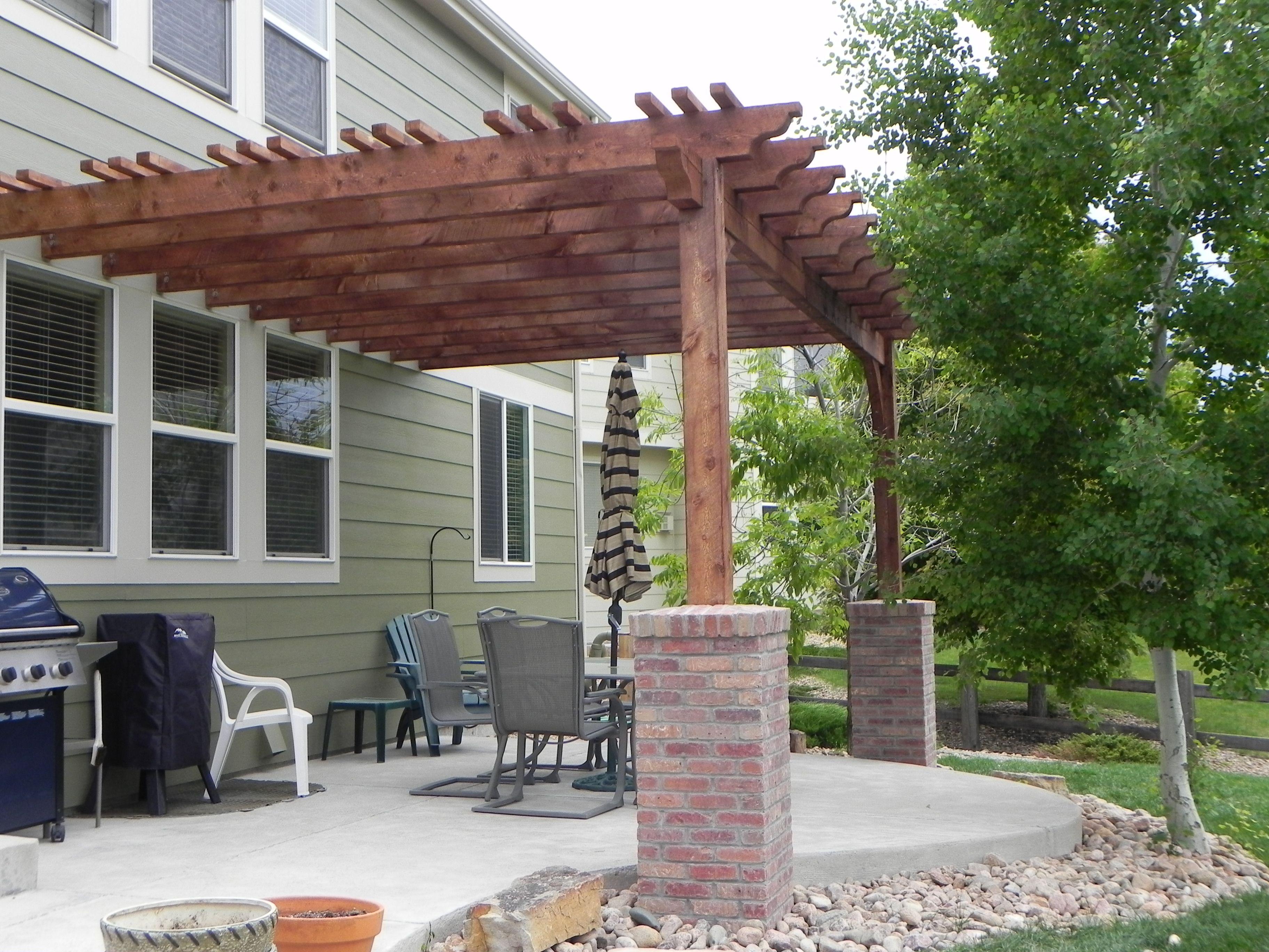 Pergola With Brick Columns Portfolio Craftsman Outdoor