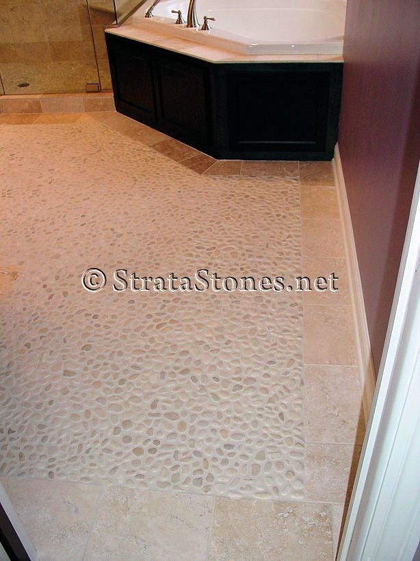 Our Ivory White Pebble Tile Was Used Here As A Bathroom Floor - Pebble tiles for bathroom floor
