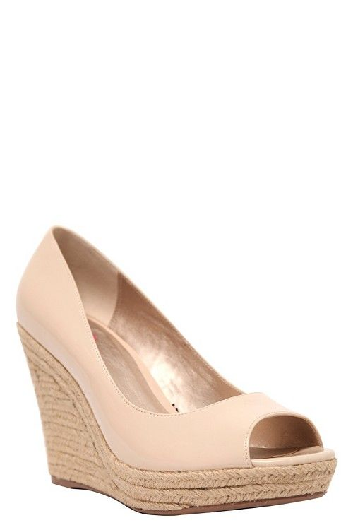 f8618310ab Great summer basic! | Billie Nude Patent Peep Toe Wedge (Wide Width ...