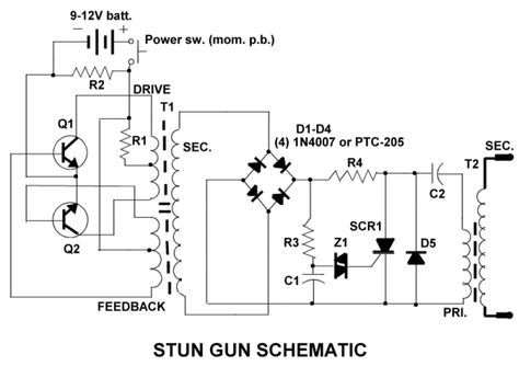 A multivibrator-based stun gun schematic | electronic in