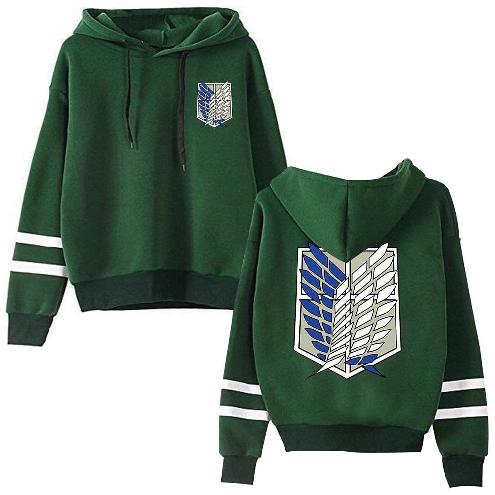 Photo of Attack on Titan Long Sleeved Striped Hooded Sweatshirt Pullover Tops Harajuku – green / XS / China