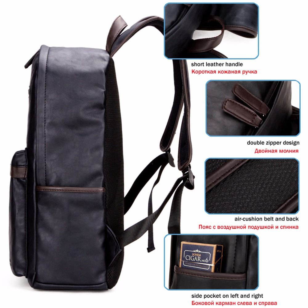 c632ee207a VICUNA POLO Brand Leather Mens Laptop Backpack Casual Daypacks For College  High Capacity Trendy School Backpack Men Travel Bag