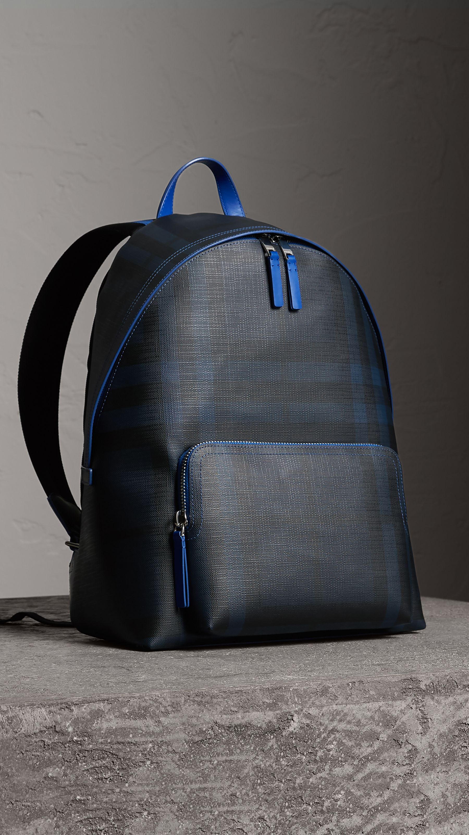 2c5911b3e875 Leather Trim London Check Backpack in Navy blue - Men