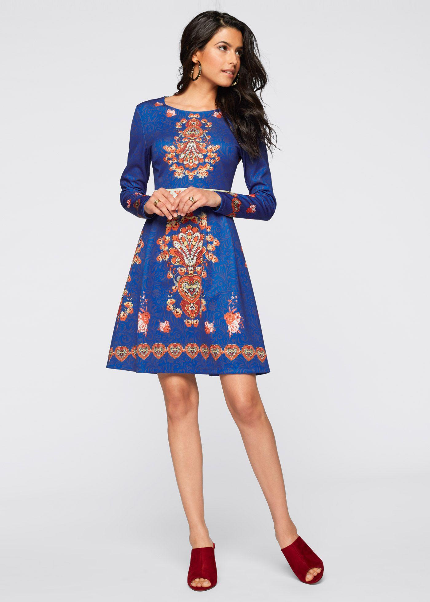 1d69fe38e Bonprix Jurk, BODYFLIRT boutique, blauw print ethnic dress blue ...
