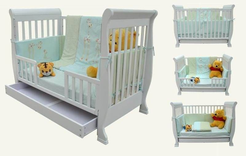 Wooden Baby Cot 3 In 1 Infant Toddler Bed Sofa Drawer Matteres