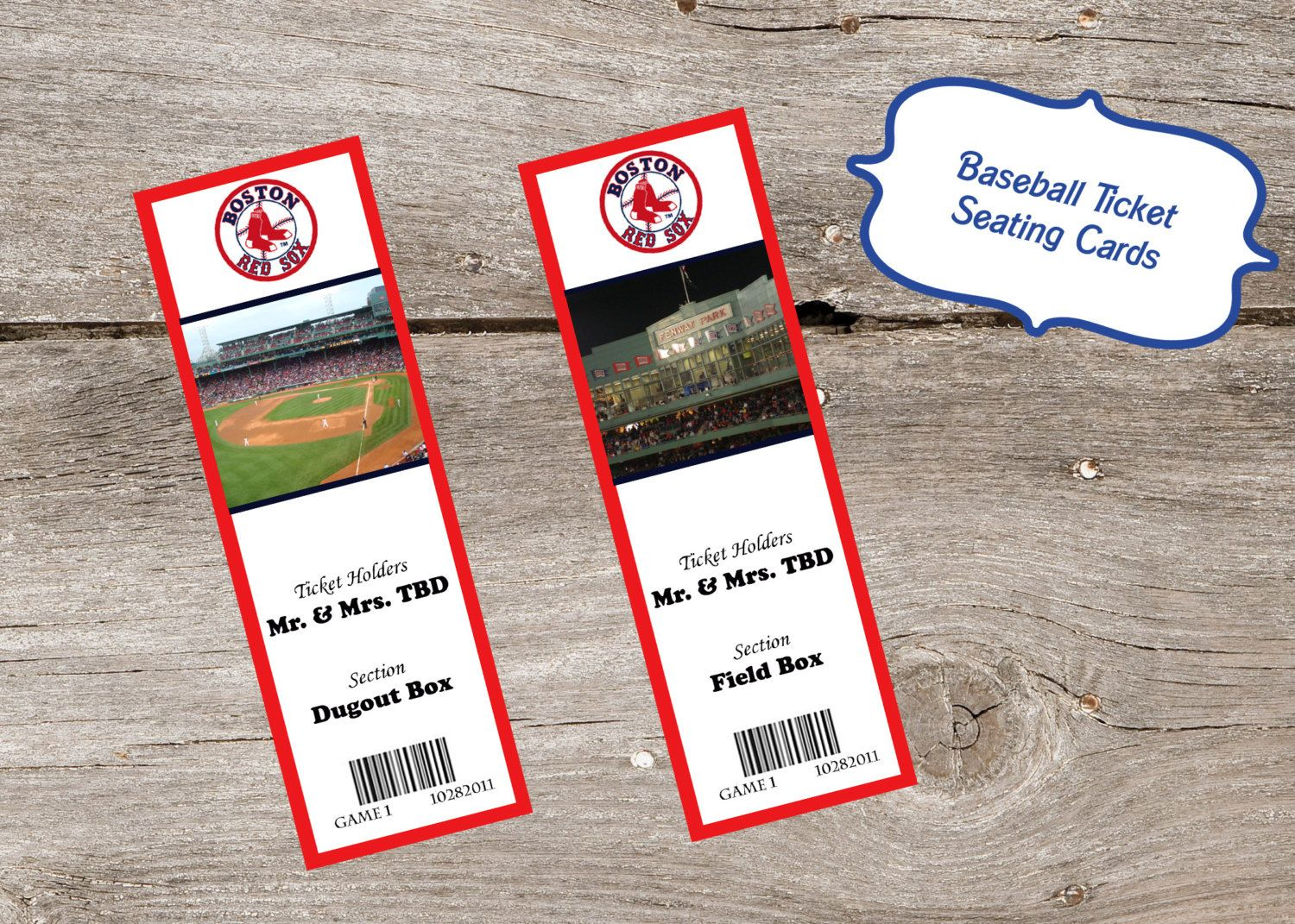 Baseball Ticket Place Cards  perfect for a sports themed wedding
