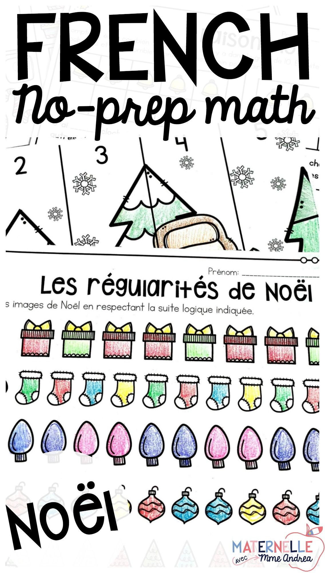 Mathmatiques Sans Prep Nol French No Prep Christmas Math