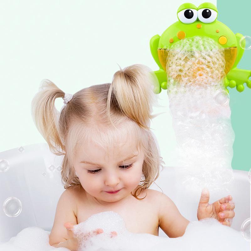 Bubble Machine Big Frog Automatic Bubble Maker Blower Music Bath Toys For Baby U