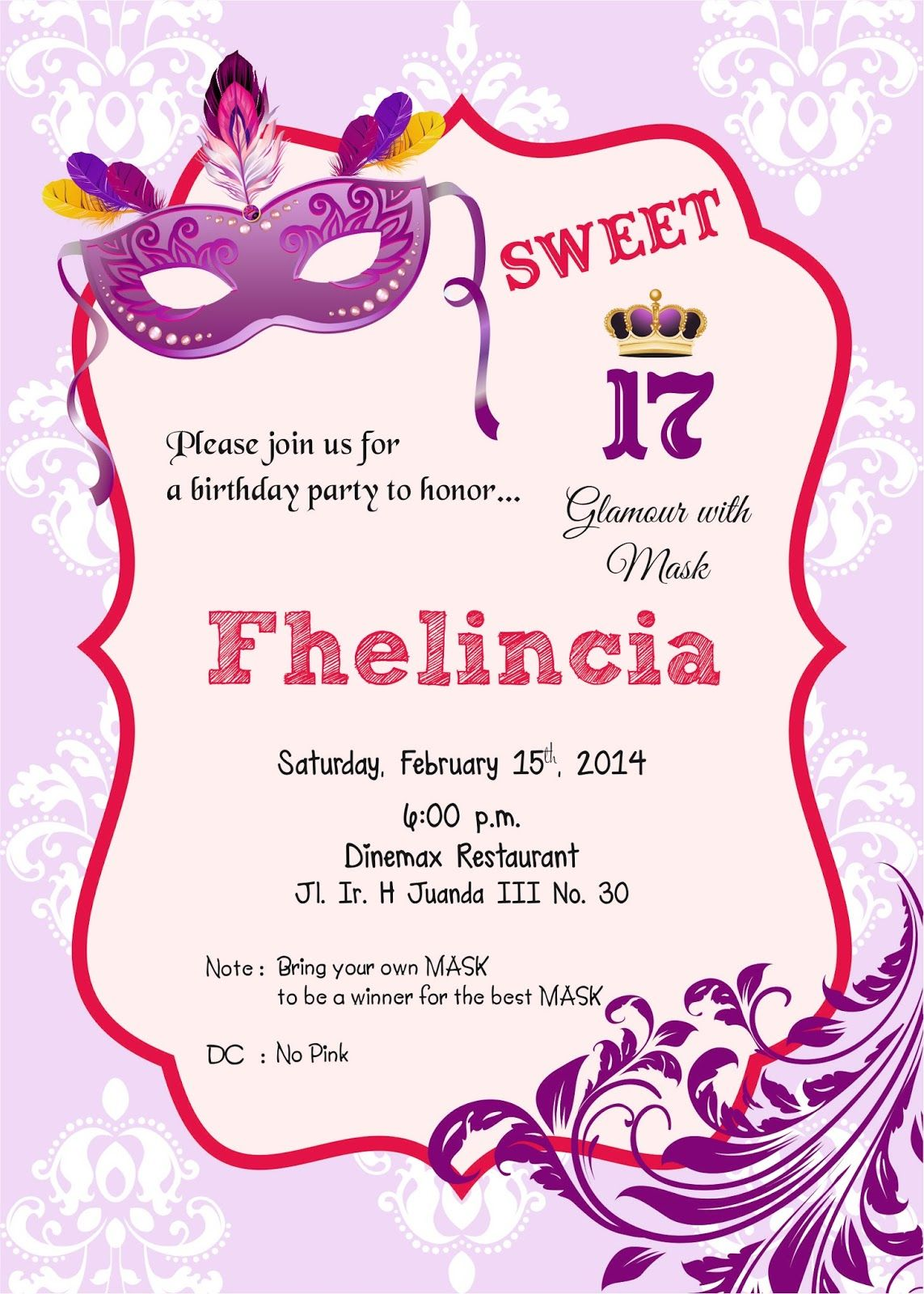 Contoh Invitation Birthday Party Sweet Seventeen In 2019