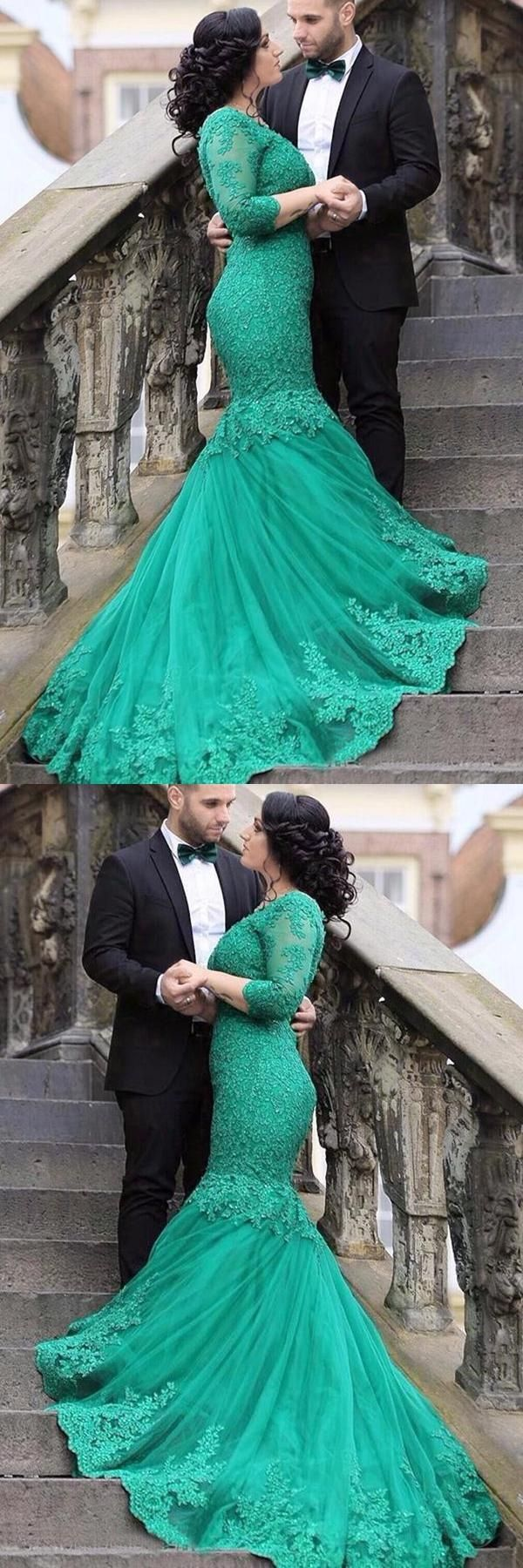 Mermaid prom dresses green prom dresses lace prom dresses long
