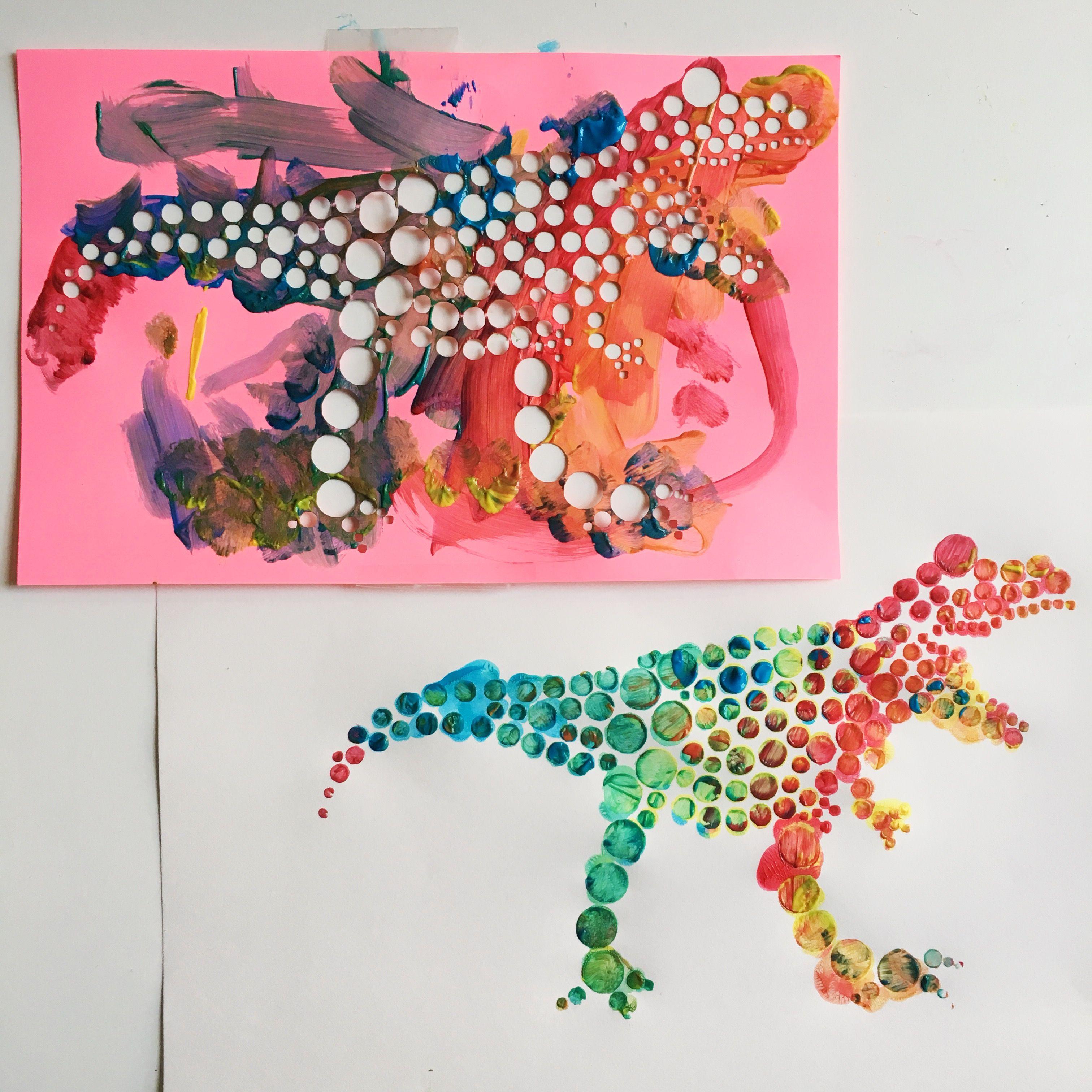 DINOSAUR POINTILLISM ART | Art room projects! | Dinosaur art