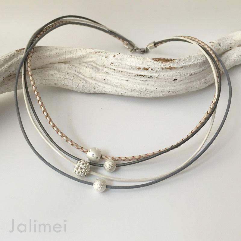 Collier grau-weiß mit Glitzkugel - tolles Geschenk