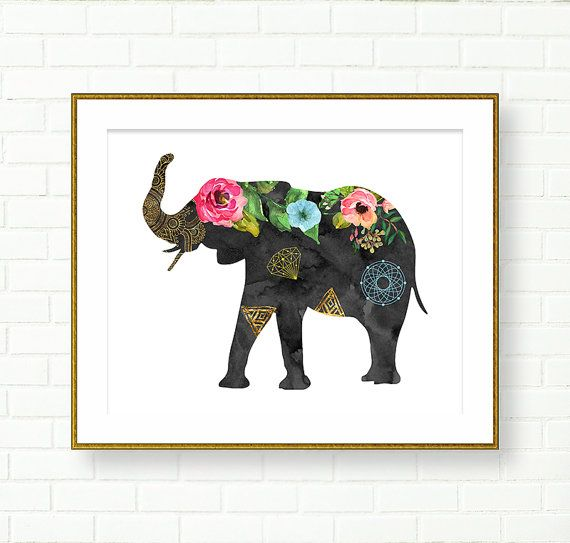 Printable Artwork Wall Art Keep your head held high watercolor flowers elephant downloadable art print for Home and office Decor ArtCult