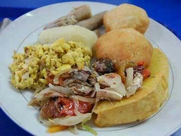 a jamaican fav ackee n' codfish w/ a side of salt mackerel