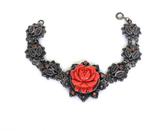 Vintage Orange Celluloid Bracelet Silver Metal Links Molded Flowers Coral Rose 1940s Early Plastic Japan