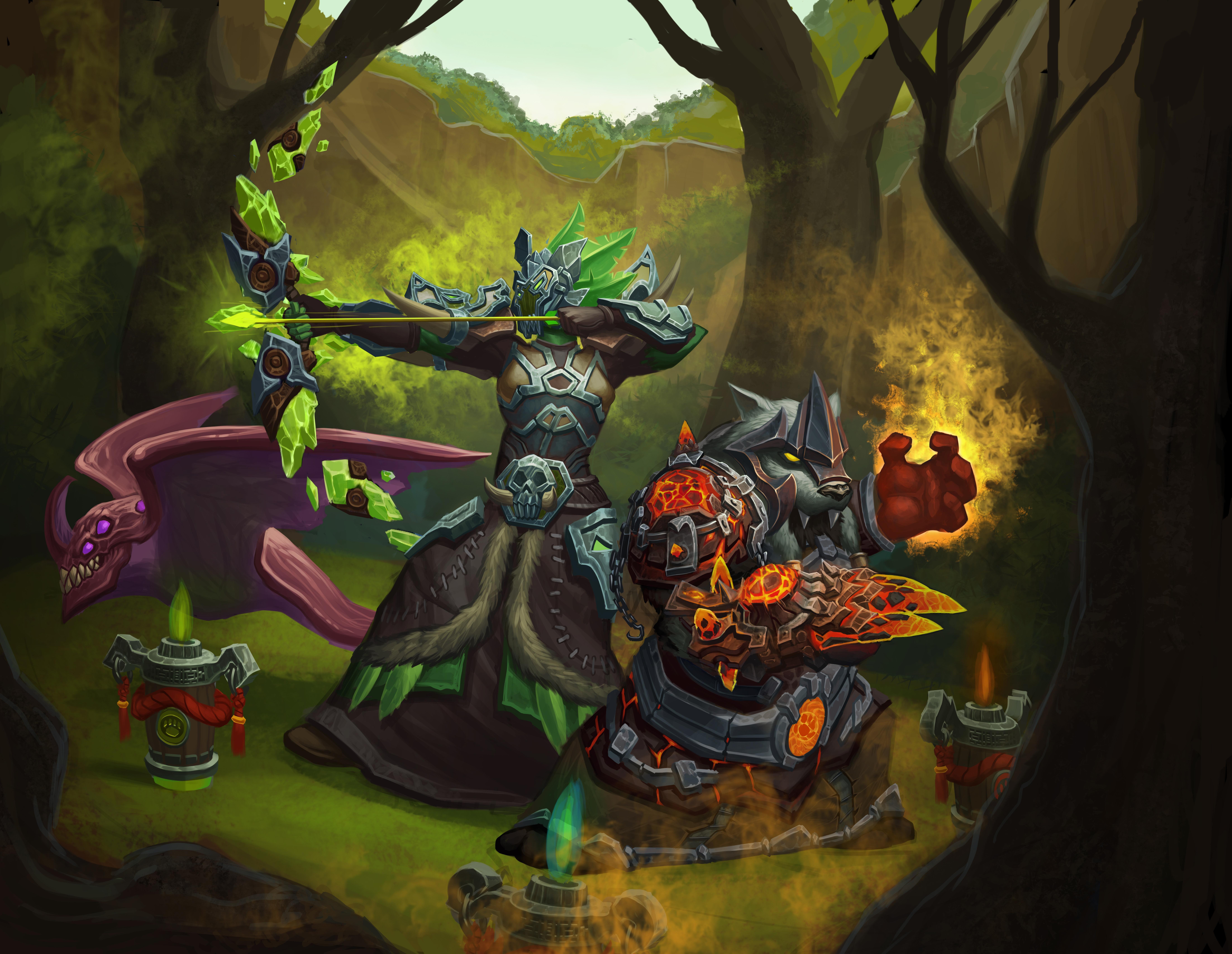 Fan art commission: orc hunter and Panda shaman # ...