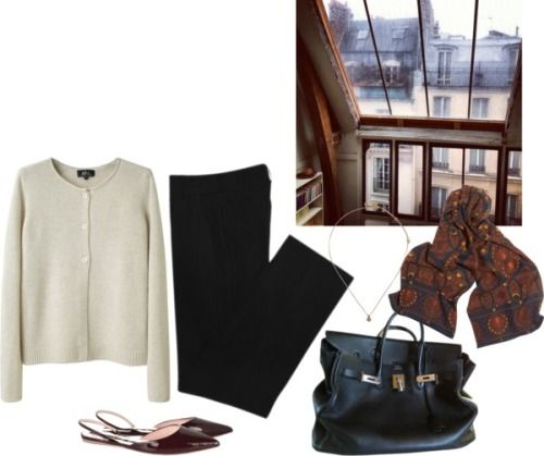 Untitled #289 by bittealt featuring real leather purses ❤ liked on PolyvoreA P C crew neck cardigan / Zara trousers / Rochas flat heel shoes, $540 / Hermès real leather purse, $6,220 / Madewell studded jewelry / Marc by marc jacobs scarve, $82