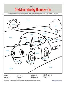 Color By Number Car Printable Division Worksheets Math Coloring 1st Grade Math Worksheets Math Projects Middle School