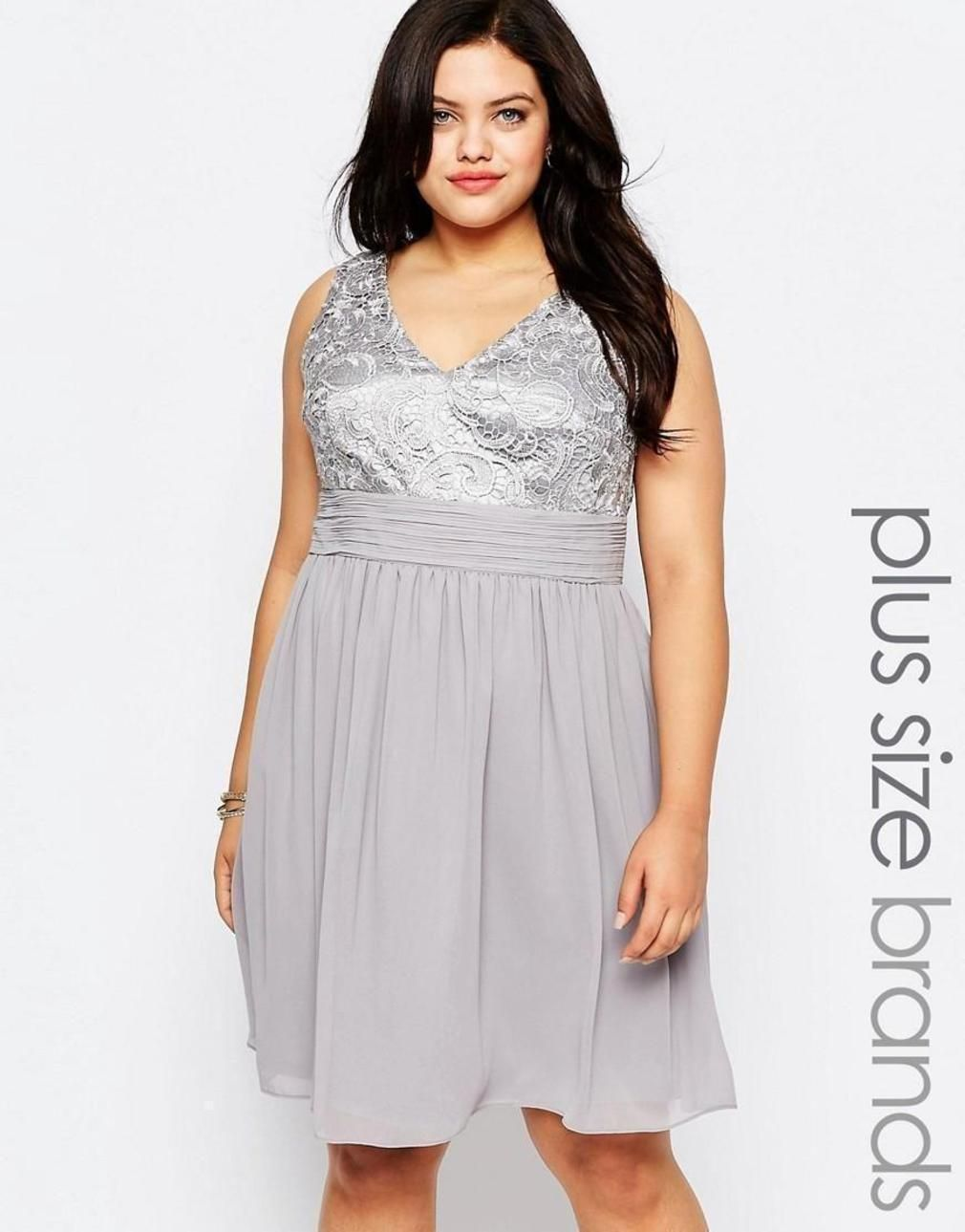 7b156cfb6d80 Lovedrobe Plus Skater Dress With Lace Top Soft grey photo #1 | Dresses