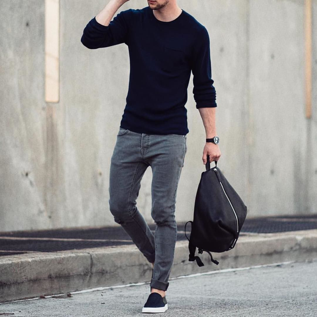 Men 39 S Fashion Instagram Page Gray Jeans Gray And Black