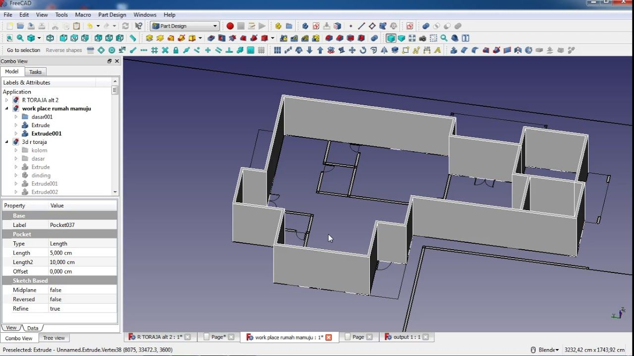 make a house in freecad : tutorial part 2 | freecad tutorial