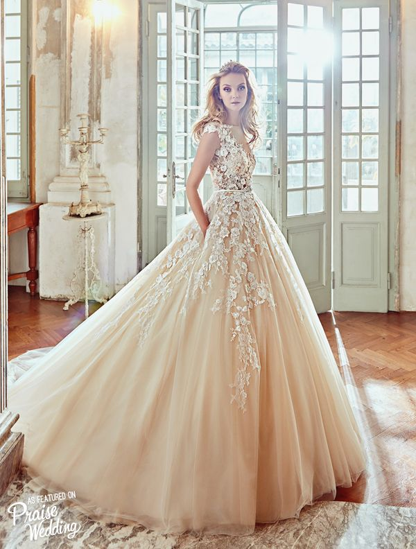 This peachy lace gown from Nicole Spose\' 2017 collection is so ...