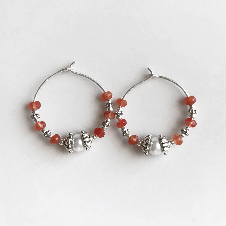 Hoop Earrings, Sterling silver hoop earrings, Pearl earrings, Wire ...