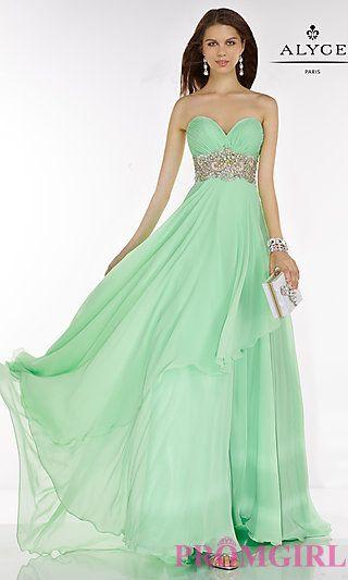 Empire Waist Long Alyce Prom Dress at PromGirl.com