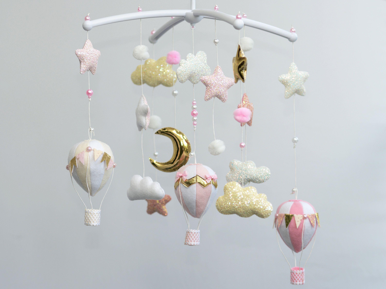 Hot Air balloon Baby girl pink gold mobile nursery decor