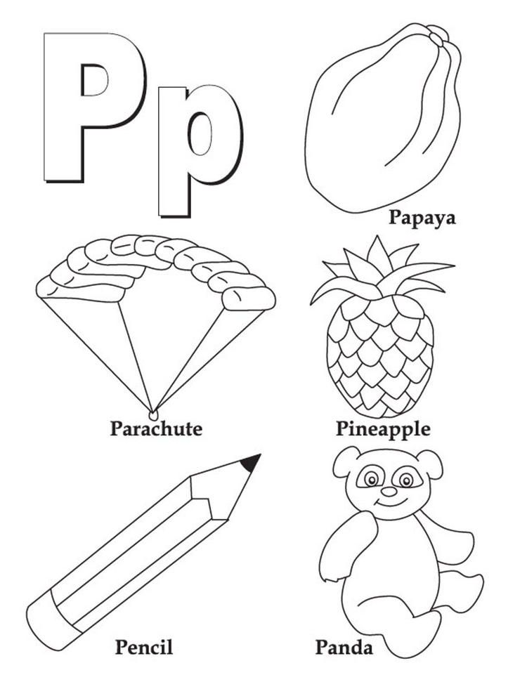 Words Of P Free Alphabet Coloring Pages Alphabet Coloring Pages Letter P Worksheets Color Worksheets