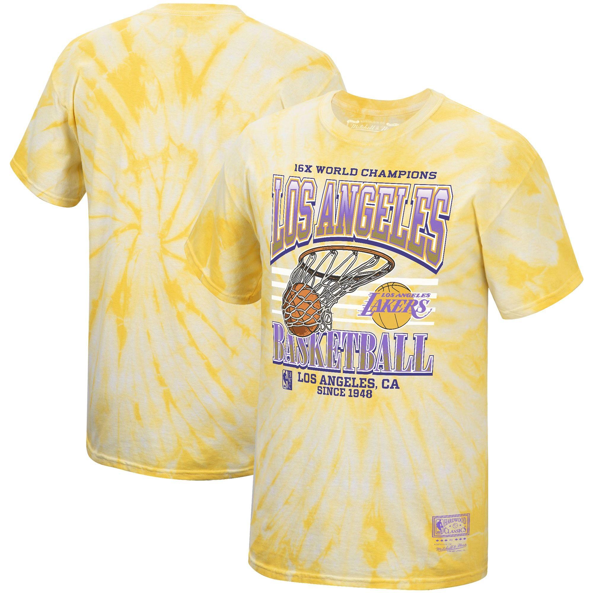 Men S Los Angeles Lakers Mitchell Ness Gold Hardwood Classics Champions Swish T Shirt In 2020 Shirts Mitchell Ness Mens Tops