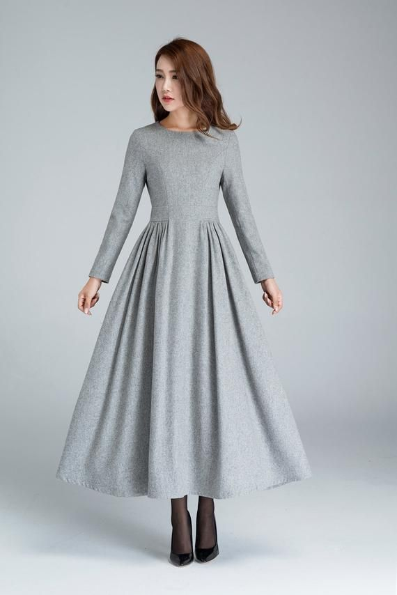 Grey wool dress, pleated dress, long dress, womens dresses, winter dress, fitted dress, warm dress, modern dress, winter fashion 1617#
