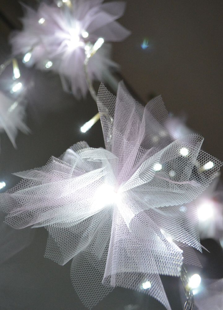 Tulle wrapped fairy lights i think i 39 m in heaven - Fairy light decoration ideas ...
